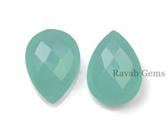 Aqua Chalcedony Briolette - Faceted Pear Shaped Brioettes - Pear 12x16mm To 13x18mm - Faceted Briolette Gemstones -  2 Pcs