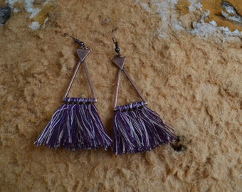 Retro,Bohemian,Boho,Vintage,Tassel Dangle Copper Earrings,Ethnic Earrings,Purple tassel