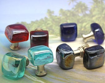 Knobs, Glass Cube Knobs, Cabinet Knobs - Cube, Kitchen, Bathroom, Blue Knobs, Red Knobs, Glass Knobs, Chunky Knobs, Nautical, Beach