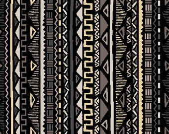 Fabric light yellow and black Maya Mexican, Aztec, and 1/2 meter