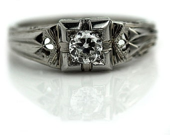 """Conflict Free Diamond Ring Vintage 1930's Old European Cut Diamond Engagement Wedding Anniversary Ring 18K White Gold """"The Muriel"""""""