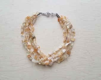 """Fashion glass nugget necklace 18"""" ivory & yellow tones."""