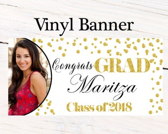 Class of 2018 Graduation Photo Banner ~ Congrats Grad Personalized Party Banners -School Colors Graduation, Grad Banner White and Gold