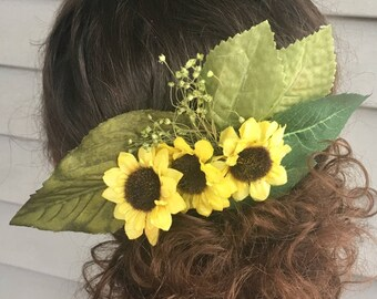 Sunflower hair piece. Fall Wedding Hair Comb. Custom Made to Order!
