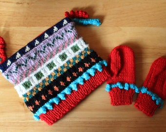 Baby Fair isle hat and gloves