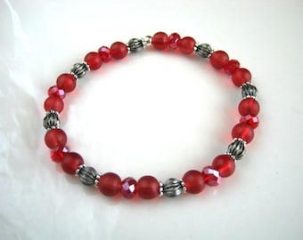 Cranberry Red Stretch Bracelet Cranberry Red Crystal Bracelet