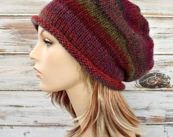 Instant Download Knitting Pattern - Knit Hat Knitting Pattern - Knit Hat Pattern for Atticus Slouchy Beanie Beanie Womens Hat