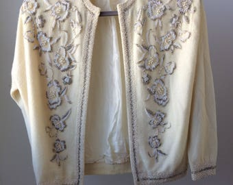 Vintage 1950 Beaded cream wool sweater