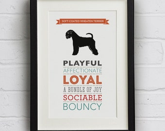 Soft-Coated Wheaten Terrier Dog Breed Traits Print