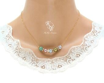 Gold Birthstone Necklace Swarovski Pearl Birthstone Necklace Mothers Day Gift Birthstone Jewelry Grandma Necklace Mom Necklace Gift For Her