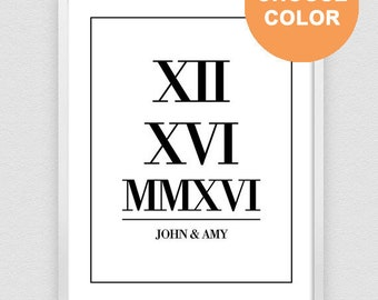 Wedding Date Sign, Roman Numeral Print, Personalized Gift For Couple, Custom Date Print, Anniversary Gift - 3 DIFFERENT Sizes