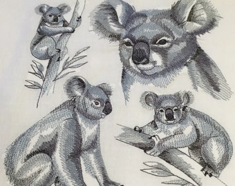 Koala Medley Design - Maschine bestickt Quilt-Block - australische Tiere - Patchwork-Blöcke - Kona Cotton - nicht Digital Download