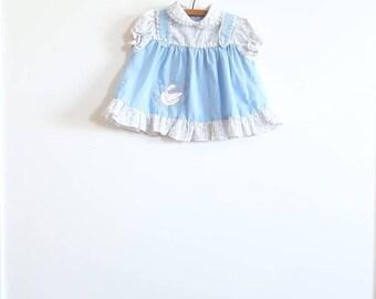 Vintage Blue Swan Baby Dress