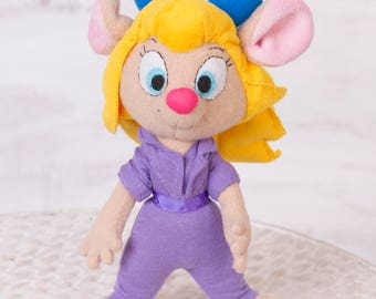 Chip and Dale inspired -  Gadget - Handmade plush Mouse doll, 10 in high