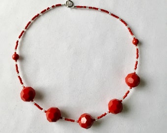 Bright red chunky bead necklace