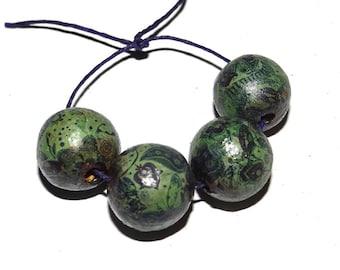 Ceramic Bead Set Stoneware Handmade Pottery Beads Rustic Earthy Floral Paisley