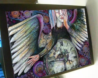 greeting card print of original art-  Time for angels