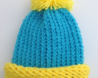 Cartman Hat South Park Hat Eric Cartman Hat Halloween Turquoise And Yellow Preemie Baby Infant Toddler Child's Teen Adult Knitted Winter Hat