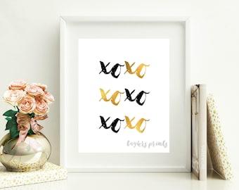 Hugs and Kisses Printable Wall Art, XOXO, Black And Gold, DIY Home Decor, Master Bedroom, Living Room, Digital Instant Download 8x10 JPEG