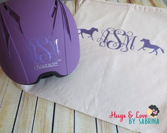 Horse Riding Helmet decal and/or Helmet Bag
