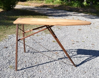 Vintage Wooden Ironing Board Rustic Primitive Decor Shelving Country Farmhouse Laundry Room Folding Table Panchosporch