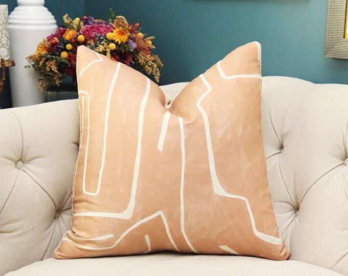 Kelly Wearstler Graffito Pillow Cover - Salmon and Creme Modern Pillow - Designer Geometric Pillow Cover - Lee Jofa - Groundworks Flesh Tone