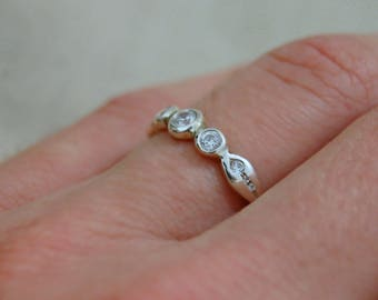 Nora CZ - Diamond Alternative, custom order, made to order, Engagement, Wedding, promise ring, stacking ring