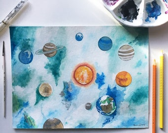 Anywhere But Here Space Original Watercolor Painting