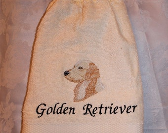 Golden Retriever dog (head) - Embroidered crochet topped hand towel (Free USA Shipping)