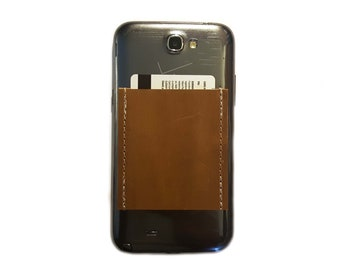 Phone Pocket / Sticky Wallet ID Case / Rugged Leather Cowhide Tan Saddle Chestnut Caramel Oil Tanned / Adhesive business card holder for men