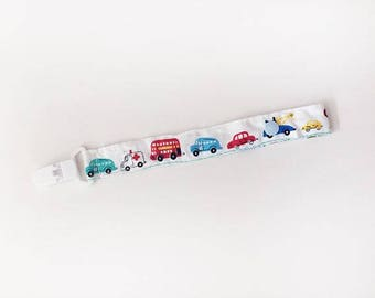 Zoom Zoom White Pacifier Strap