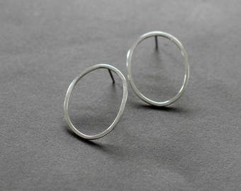 Large Oval Sterling Silver Post Earrings, Geometric Silver Studs, Simple Everyday Earring Studs