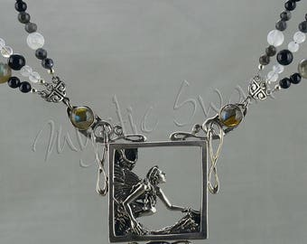 Faerie Necklace with Scrollwork, Accent Stones with Beads or Chain