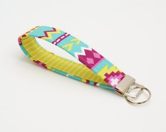 Wristlet Key Fob - Aztec Fabric Keychain - Cute Teal, Pink and Chartreuse Key chain  - Short Key Ring - Key Wrist Lanyard - Bridesmaid Gift