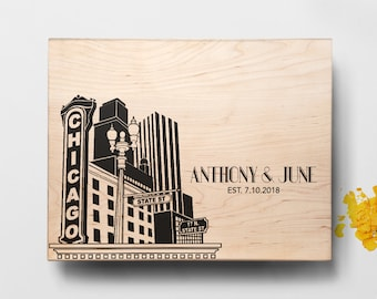Personalized Cutting Board Chicago Skyline Design, Personalized Wedding Gift, Engraved Chicago Skyline ,Custom Cutting Board, Wedding Gift
