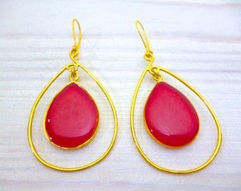 Red Earrings Dangle, Earrings Red Big, Teardrop Earrings Gold, Long Earrings, Inspirational Gift for Women, Mothers day Jewelry