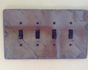Decorative Slate Switch Plate 4 Quad Toggle Switchplate Light Wall Plate Cover Stone Rustic QS