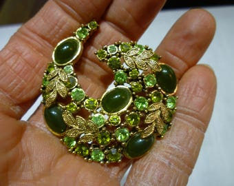 K17 Vintage Gold Tone with Multiple Hues of Green Stones Cornucopia Brooch.