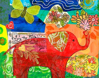 Red Elephant 5X5 Blank Greeting Card by Elizabeth Claire