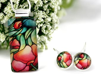 Pink Rose Necklace & Earrings Set - Flower Necklace - Glass Jewelry - Handmade Floral Set - Art Nouveau Charm - Pink Rose Pendant