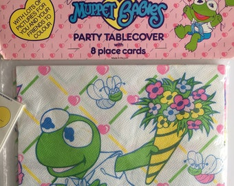 Vintage Muppet Babies tablecloth, place cards x 16, new in packet.