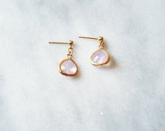SALE HALF PRICE  Gold Violet Opal Earrings Womens Gifts Gift for Women