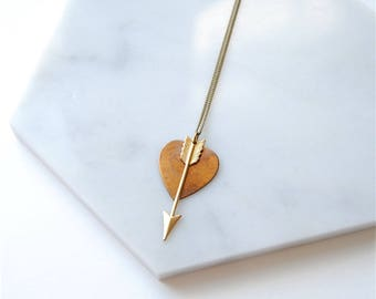 Tainted Heart Charm Necklace. Gold Arrow for Girlfriend Birthday. Boho Long Jewelry. Long Distance Relationship. Mothers Day For Wife Gift.
