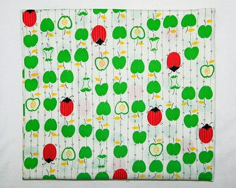 "Soft Vintage Fabric Green Apples and Red Ladybugs 44.5"" x 42"" (113.03 cm x 106.68 cm) Thin (Probably) Cotton Washed and Ready"