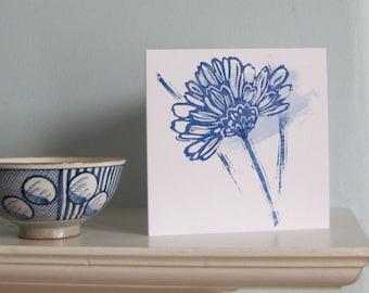 Blue Daisy Greetings Card