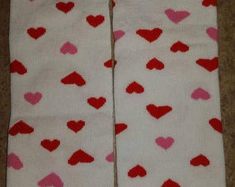White with red and pink hearts baby leg warmers