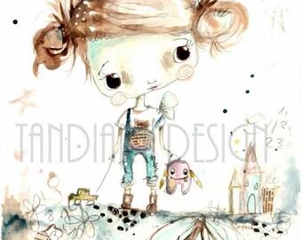 Robin- art print, for a girl, fairy illustration, home decor, kids room