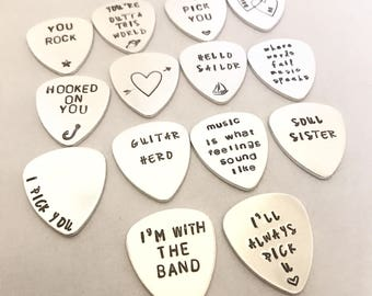 Personalised Guitar pick, Custom Stamped plectrum, Music lover, gifts for Him, Customized Guitar Pick, christmas gift, fathers day