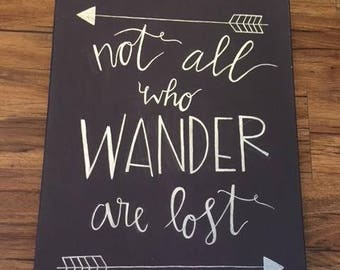 Wander Quote Canvas Purple and Silver