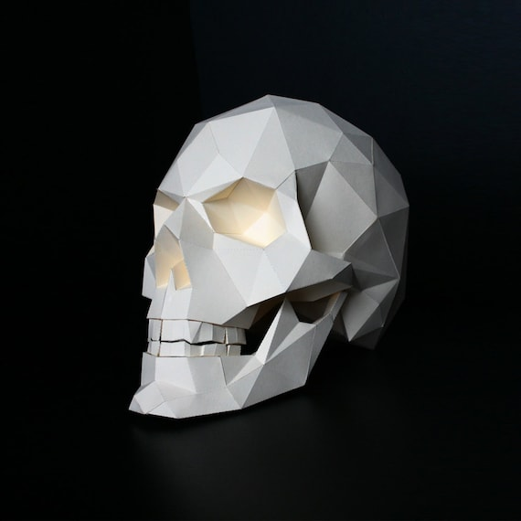 Skull Paper Craft Objet Realistic Low Poly 3D
